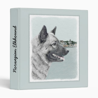 Norwegian Elkhound at Village Painting - Dog Art Vinyl Binders