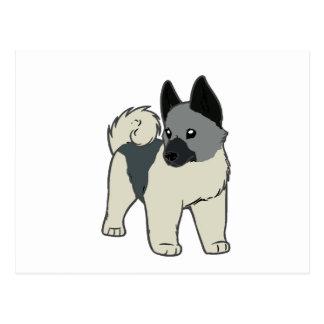 norwegian elkhound cartoon postcard