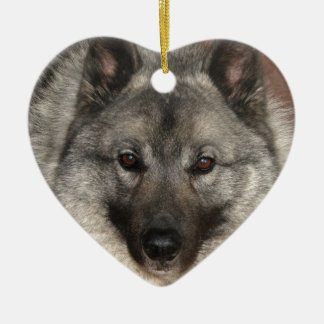 Norwegian Elkhound Ceramic Heart Ornament