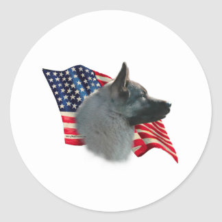 Norwegian Elkhound Flag Round Sticker