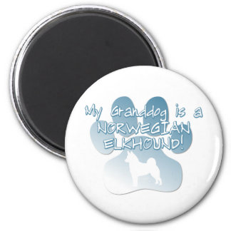 Norwegian Elkhound Granddog 2 Inch Round Magnet