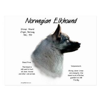 Norwegian Elkhound History Design Postcard