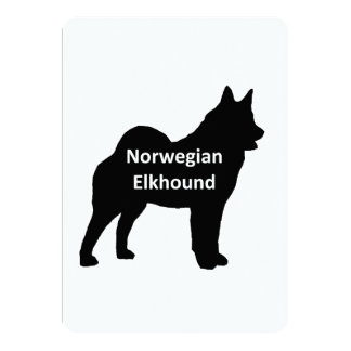"Norwegian Elkhound  name silo black.png 5"" X 7"" Invitation Card"