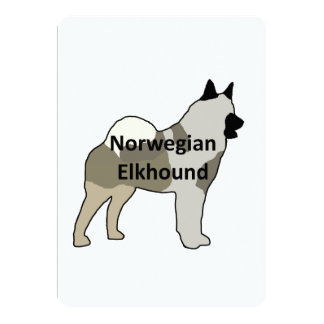 """Norwegian Elkhound name silo color.png 5"""" X 7"""" Invitation Card"""