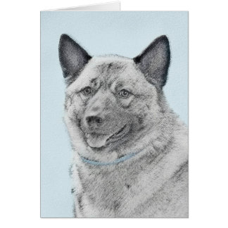 Norwegian Elkhound Painting - Original Dog Art Card