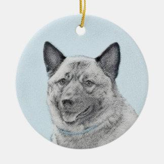 Norwegian Elkhound Painting - Original Dog Art Ceramic Ornament