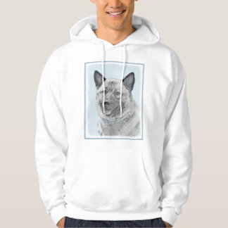 Norwegian Elkhound Painting - Original Dog Art Hoodie
