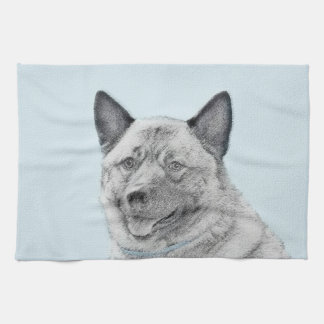 Norwegian Elkhound Painting - Original Dog Art Kitchen Towel