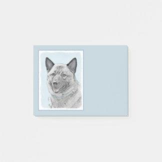 Norwegian Elkhound Painting - Original Dog Art Post-it Notes