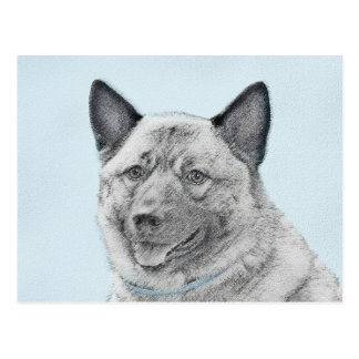 Norwegian Elkhound Painting - Original Dog Art Postcard
