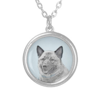 Norwegian Elkhound Painting - Original Dog Art Silver Plated Necklace
