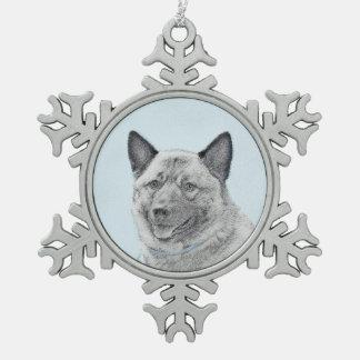 Norwegian Elkhound Painting - Original Dog Art Snowflake Pewter Christmas Ornament
