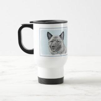 Norwegian Elkhound Painting - Original Dog Art Travel Mug