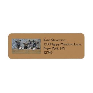 Norwegian Elkhound Puppies Return Address Label