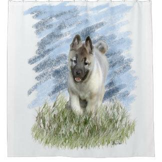 Norwegian Elkhound puppy shower curtain