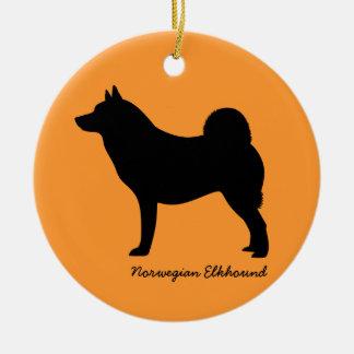 Norwegian Elkhound Round Ceramic Ornament