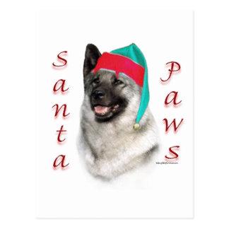 Norwegian Elkhound Santa Paws Postcard