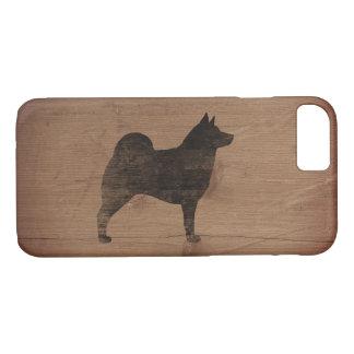Norwegian Elkhound Silhouette Rustic iPhone 7 Case