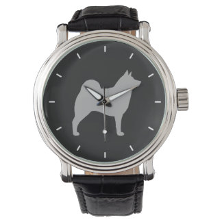 Norwegian Elkhound Silhouette Wristwatches
