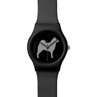 Norwegian Elkhound Silhouette Wristwatches