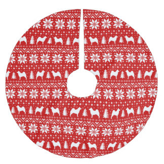 Norwegian Elkhound Silhouettes Christmas Pattern Brushed Polyester Tree Skirt