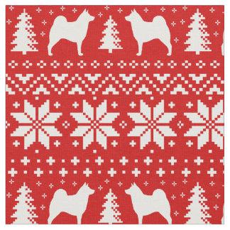 Norwegian Elkhound Silhouettes Christmas Pattern Fabric