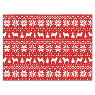 Norwegian Elkhound Silhouettes Christmas Pattern Tissue Paper