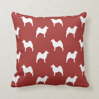 Norwegian Elkhound Silhouettes Pattern Red Throw Pillow