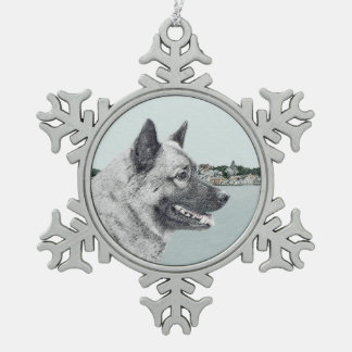 Norwegian Elkhound Snowflake Pewter Christmas Ornament