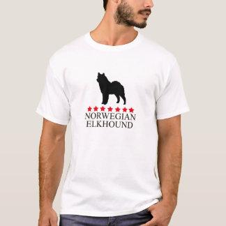 Norwegian Elkhound T-shirt with Red Stars