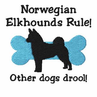 Norwegian Elkhounds Rule Embroidered Zip Hoodie