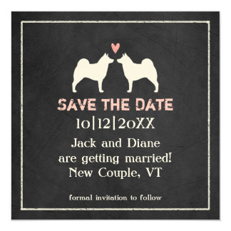 """Norwegian Elkhounds Wedding Save the Date 5.25"""" Square Invitation Card"""