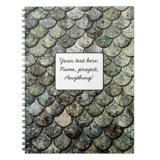 Norwegian Fish Scale Pattern Slate Roof Spiral Notebooks
