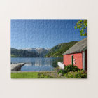 Norwegian fjord view and boathouse jigsaw puzzle