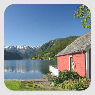 Norwegian fjord view and boathouse sticker
