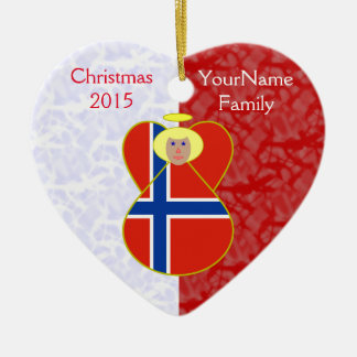 Norwegian Flag Angel Blonde Hair Red White Ceramic Heart Ornament