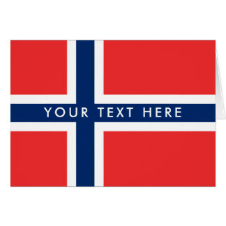 Norwegian flag custom greeting card