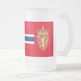 Norwegian flag frosted glass beer mug
