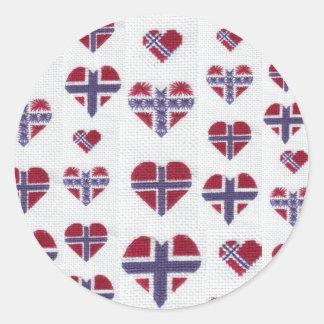 Norwegian Flag Heart Cross Stitch Nordic Norway Hj Classic Round Sticker