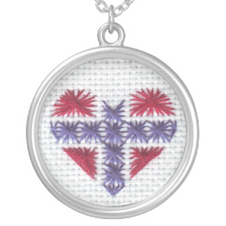 Norwegian Flag Heart Cross Stitch Nordic Norway Hj Silver Plated Necklace
