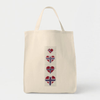 Norwegian Flag Heart Cross Stitch Nordic Norway Hj Tote Bag