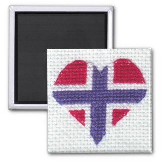 Norwegian Flag Heart Cross Stitch Nordic Norway Magnet