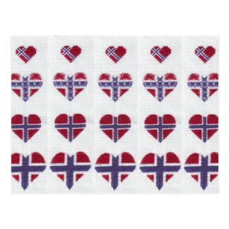 Norwegian Flag Heart Cross Stitch Nordic Norway Postcard