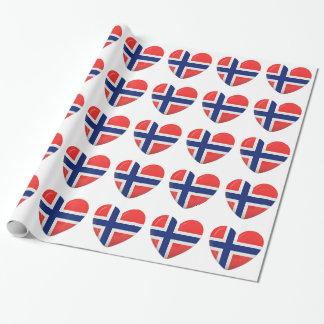 Norwegian Flag Heart of Norway Scandinavian Wrapping Paper