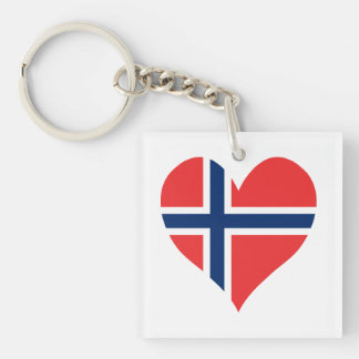 Norwegian Flag Heart Single-Sided Square Acrylic Keychain