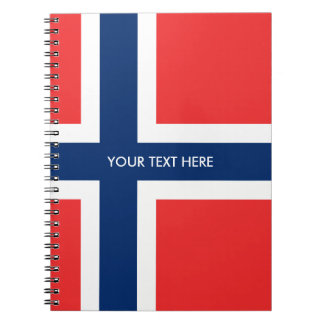 Norwegian flag of Norway custom spiral notebook