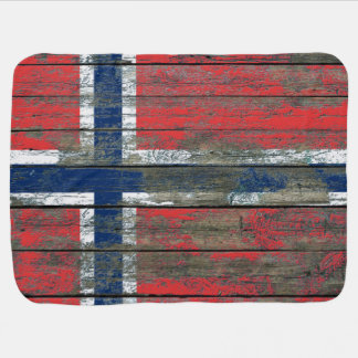 Norwegian Flag on Rough Wood Boards Effect Baby Blanket