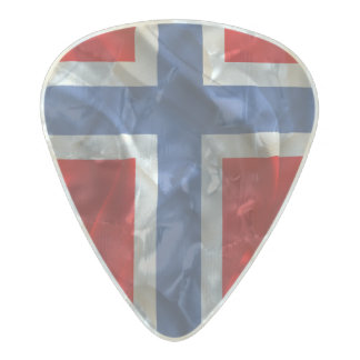 Norwegian flag pearl celluloid guitar pick
