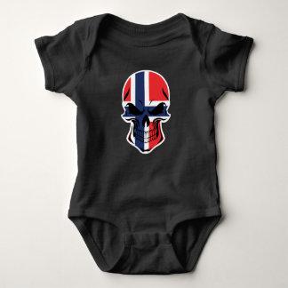 Norwegian Flag Skull Baby Bodysuit