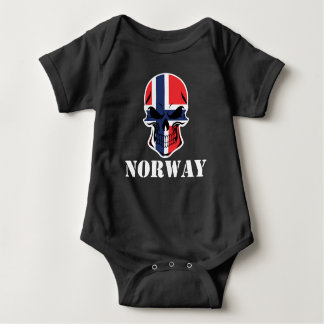 Norwegian Flag Skull Norway Baby Bodysuit